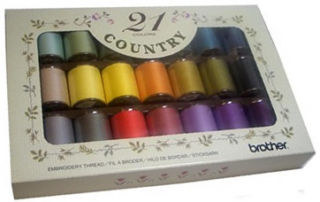 Brother Country Embroidery Thread Set Matt Finish (21 colours)