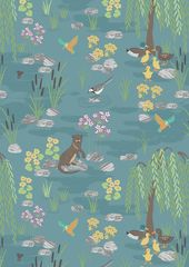 Lewis & Irene Fabric - Down by the river (A219)